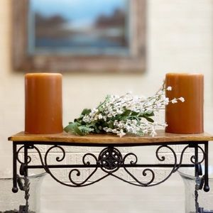 Wrought Iron and wood hanging rustic wall shelf ♥️